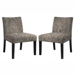angelo:HOME Bradstreet Soft Velvety Paisley Grey Armless Chair- Set of 2
