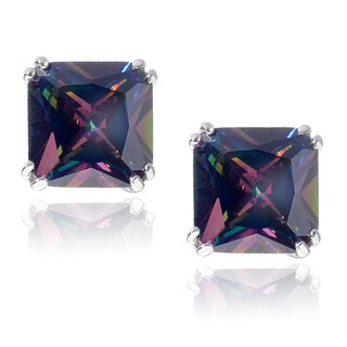 Journee Collection Sterling Silver Mystic Quartz Stud Earrings