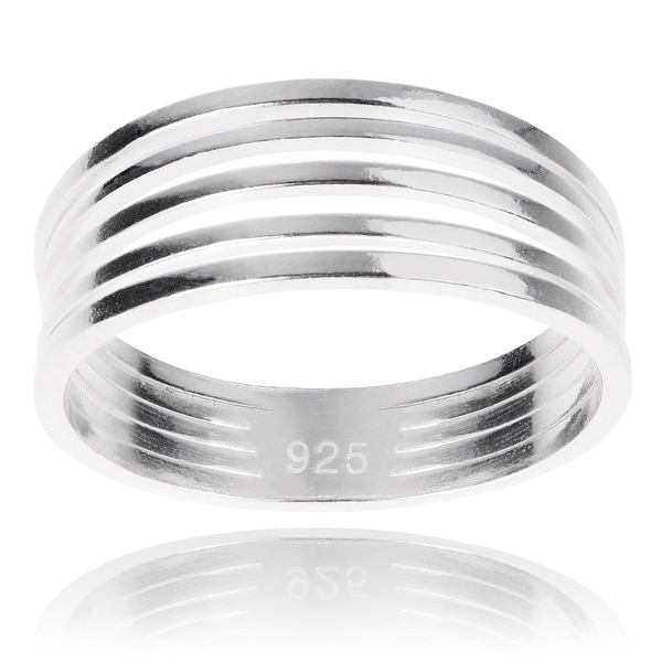 Journee Collection Sterling Silver Split Ring Band