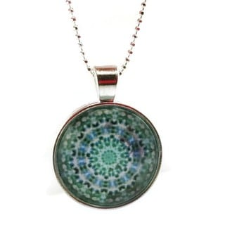 Mama Designs Handmade Glass Dome Pendant Style Sterling Silver or Leather Necklace