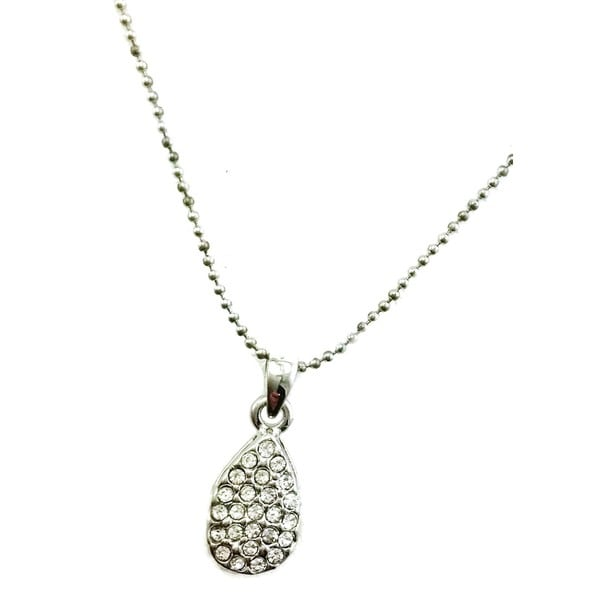 Mama Designs Rhinestone Teardrop Rhodium-plated Necklace