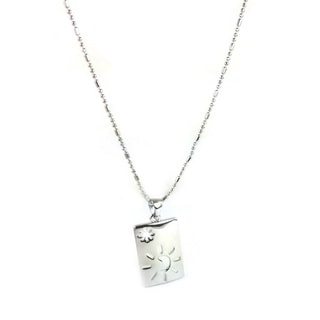 Mama Designs Moon and Star Rhodium-plated Necklace