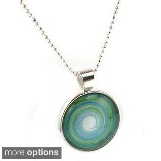 Mama Designs Green Handmade Sterling Silver Glass Dome Necklace