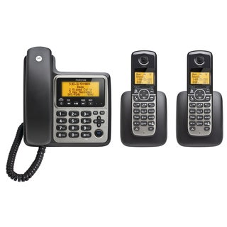 Motorola Digital Cordless/ Corded Home Phone with Answering Machine and Two Handsets