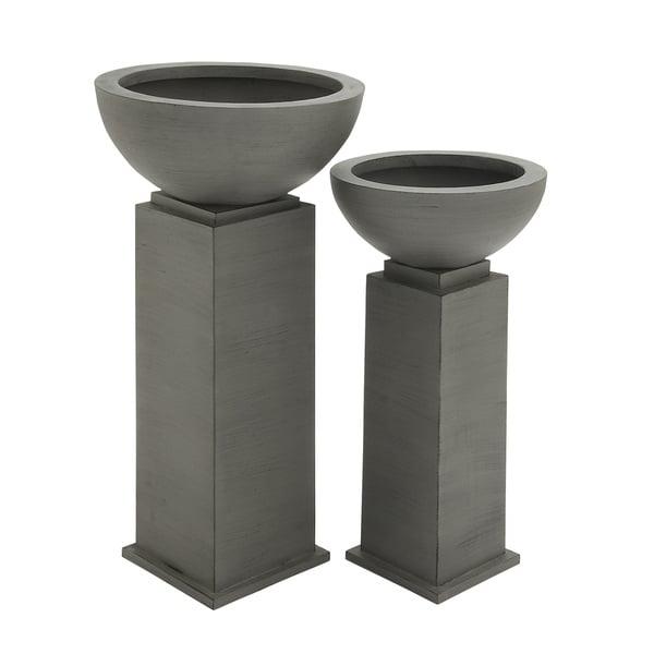 Grey Metal Outdoor Planter (Set of 2)