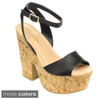 Wild Diva ELFI-10 Women's Cork Platform Ankle Strap Dress Heels