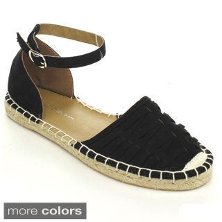 Wild Diva TIKA-07 Women's Casual Espadrille Two Piece Comfort Ankle Strap Flats