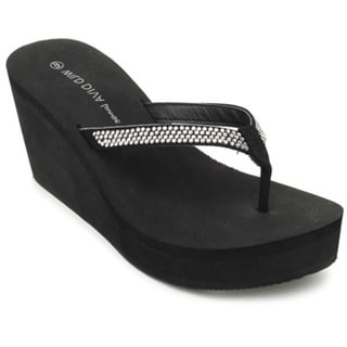Wild Diva ACACIA-05 Women's Fashion Slip On Rhinestone Flip Flop Platform Wedges