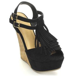 Wild Diva KENDALL-63 Women's Platform Fringe T-Strap Ankle Strap Wedges