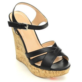 Wild Diva MADISON-131 Women's Comfort Cork Platform Ankle Strap Wedges