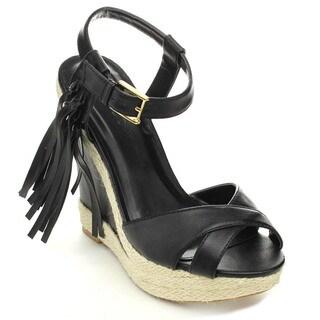 Wild Diva MADISON-134 Women's Criss Cross Esparille Ankle Strap Wedges
