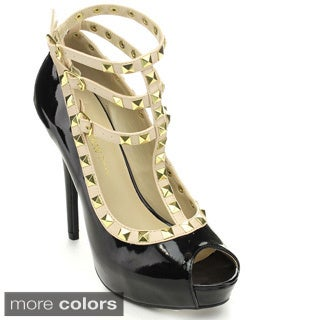 Wild Diva SONNY-292 Women's Peep Toe Stiletto Studded Ankle Strap Dress Heels