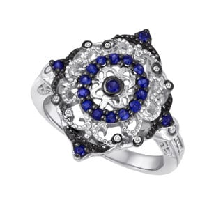 Sterling Silver Sapphire and Diamond Accent Ring (Size 7)