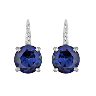 Sterling Silver Created Sapphire Earrings