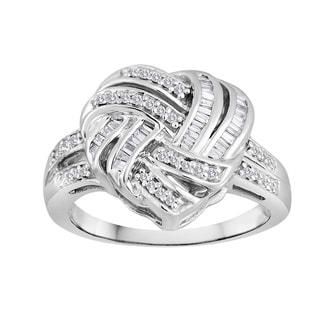 Sterling Silver 1/2ct TDW Diamond Heart Knot Ring (Siez 7)