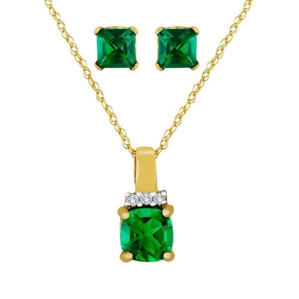 Goldplated Sterling Silver Simulated Emerald Jewelry Set