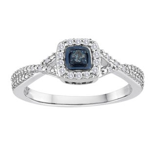 Sterling Silver 1/5ct TDW Blue and White Diamond Ring (Size 7)