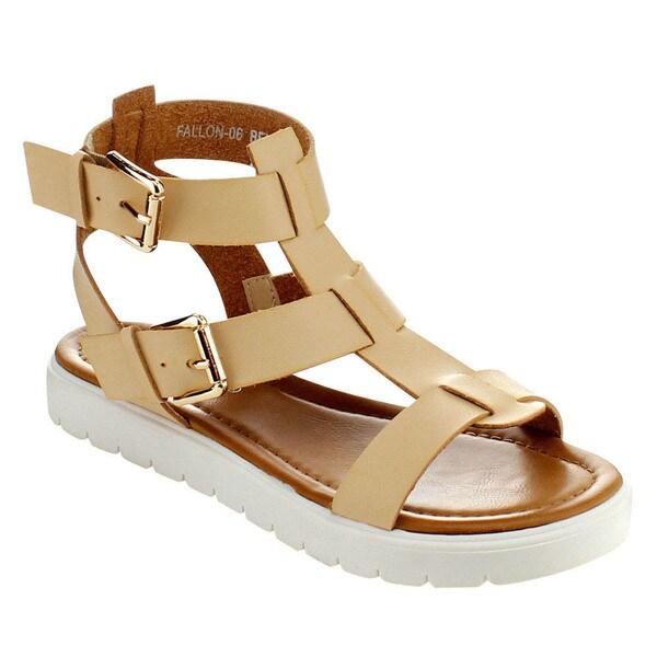 Via Pinky FALLON-06 Women's Open Toe Strap Flat Gladiator Sandals Size 6 in Beige ( As Is Item)