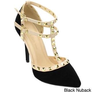 Wild Diva ADORA-64 Women's T-Strap Studs Stiletto Pointed Toe D'orsay Heels