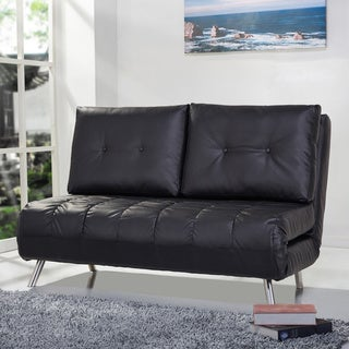 Tampa Black Convertible Loveseat Sleeper