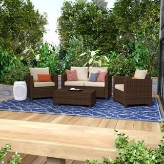 Portfolio Aldrich Dark Brown 4-piece Wicker Indoor/Outdoor Seating Grouping