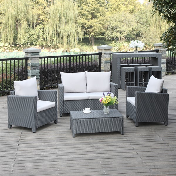 Portfolio Aldrich Grey 4-piece Wicker Indoor/Outdoor Seating Grouping