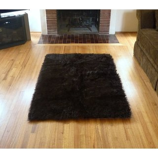 Faux Fur Sheepskin Shag Area Rug Brown (4'6x6'8)