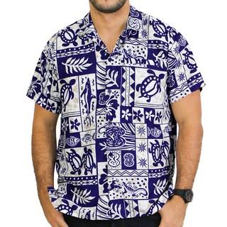 La Leela Men's Likre Blue Tropical Printed Hawaiian Shirt