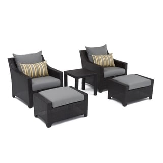 RST Brands Deco 5-piece Club Chair and Ottoman Set with Charcoal Grey Cushions