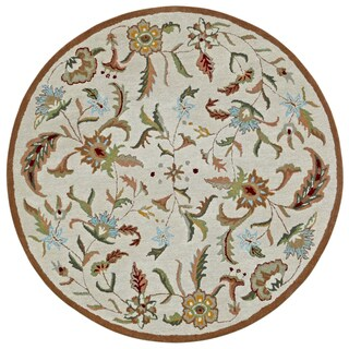 Brown Wool Traditions Paradise (6'x6') Round Rug
