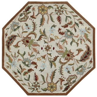 Brown Wool Traditions Paradise (6'x6') Octagon Rug