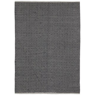 Black Jute Diamonds (8'x10') Flat Weave Rug