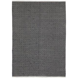 Black Jute Diamonds (10'x14') Flat Weave Rug