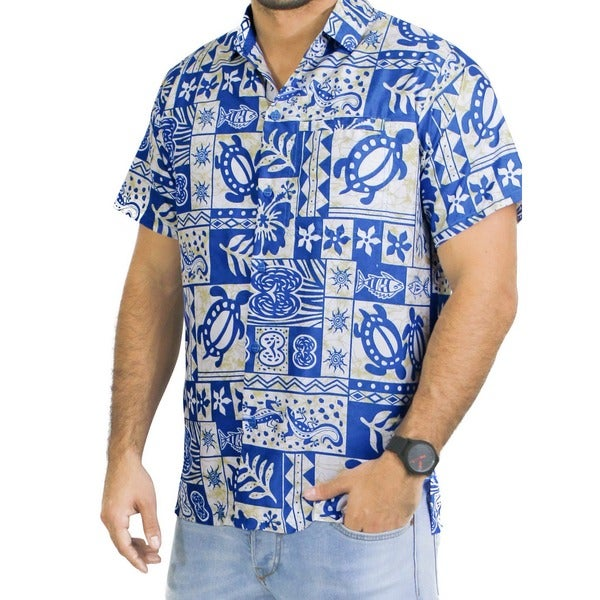 La Leela Men's Likre Tropical Printed White/ Blue Beach Shirt