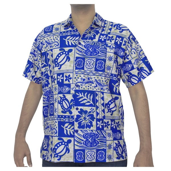 La Leela Men's Likre Tropical Printed White/ Blue Beach Shirt