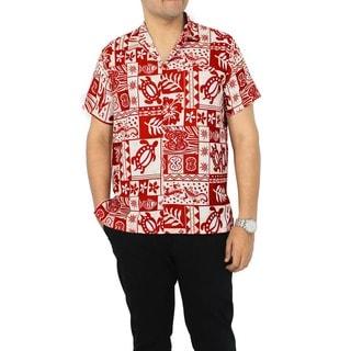 La Leela Men's Likre White/ Red Tropical Printed Hawaiian Camp Shirt
