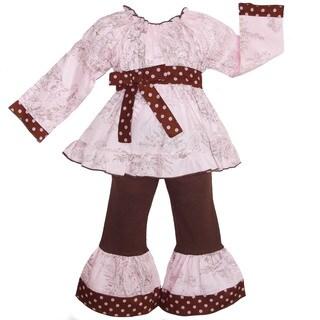 AnnLoren Girls' Boutique Fall Toile/ Polka Dot Long Sleeve 2-piece Outfit