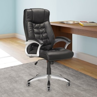 CorLiving LOF-709-O Workspace Executive Office Chair in Black Leatherette