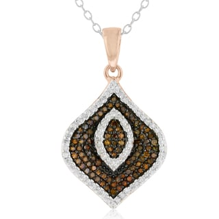 14k Rose Gold over Silver 1/2ct TDW Champagne and White Diamond Necklace (H-I, I1-I2)