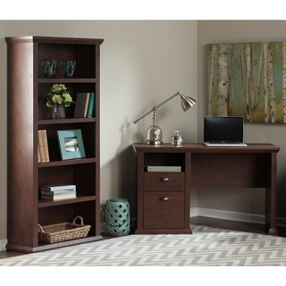 Bush Furniture Yorktown Collection Single Pedestal Desk and Bookcase