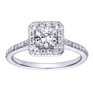14k White Gold Cubic Zirconia and 1/3ct TDW Diamond Square Halo Engagement Ring (H-I, I1-I2)