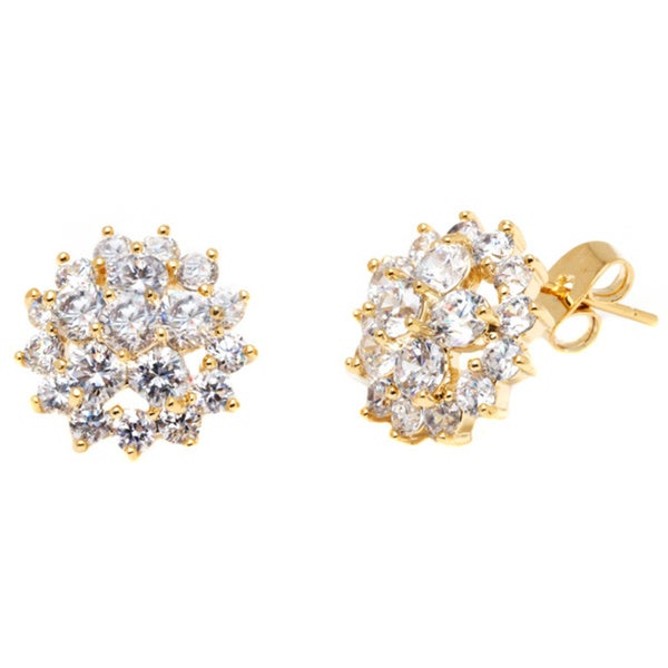 18k Goldplated Gold and Clear Crystal Spike Flower Stud Earrings