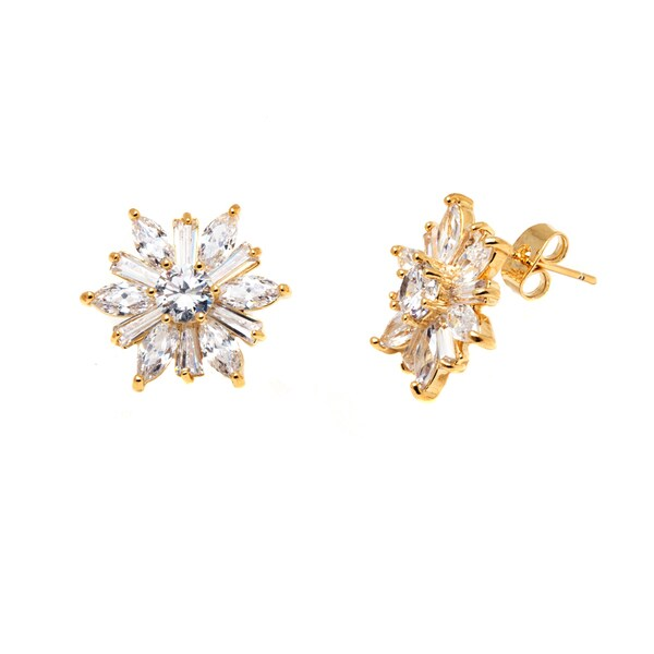 18k Goldplated Gold and Clear Crystal Flower Earrings
