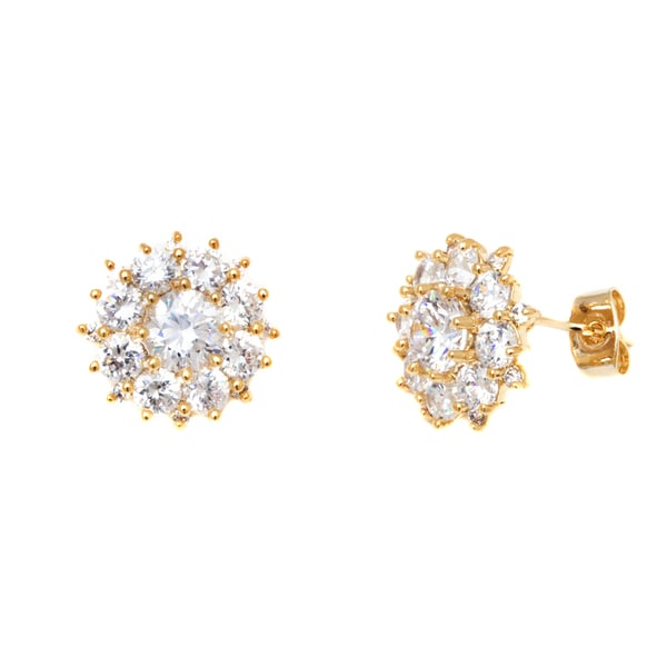 18k Goldplated Gold and Clear Crystal Flower Stud Earrings