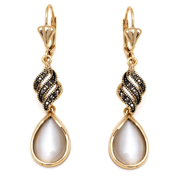18k Goldplated Gold and Crystal Teardrop Drop Earrings