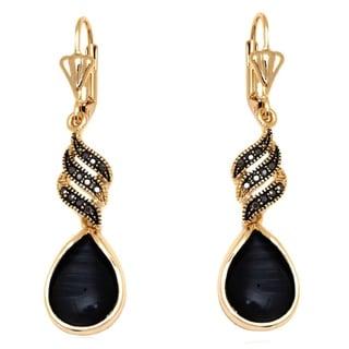 18k Goldplated Gold and Crystal Teardrop Drop Earrings