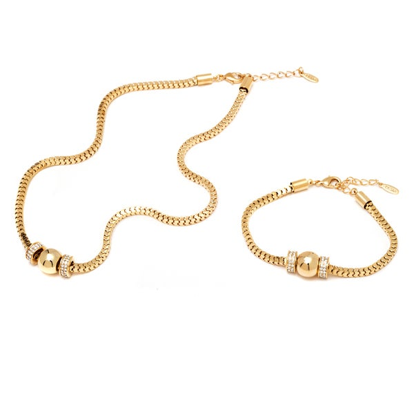 18k Goldplated Gold and Crystal Elements Ball Charm Box Link Chain Bracelet and Necklace Set