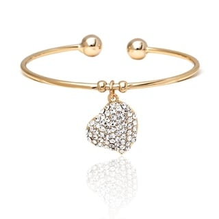 18k Goldplated Gold and White Crystal Elements Heart Charm Bangle