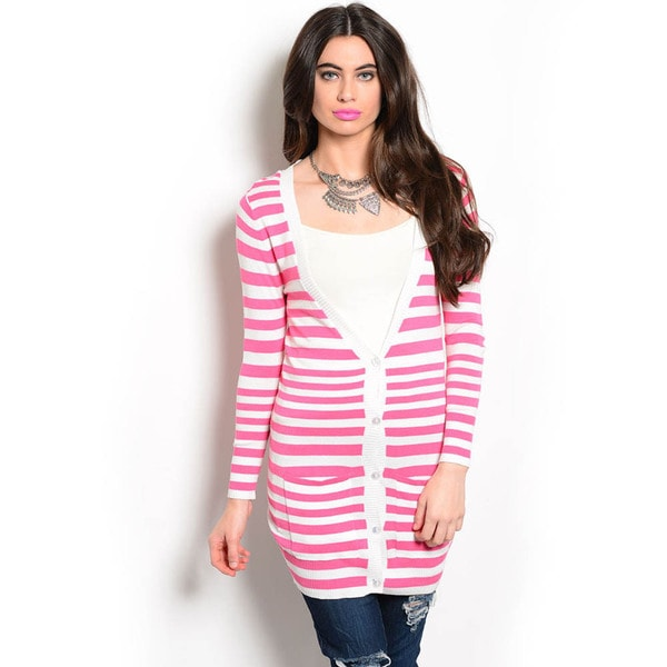 Shop The Trends Women's Long Sleeve Knit Cardigan Sweater with All-over Striped Print and Contrasted Button Placket
