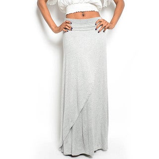 Shop The Trends Women's Knit Foldover Maxi Skirt with Wrap Front Detail